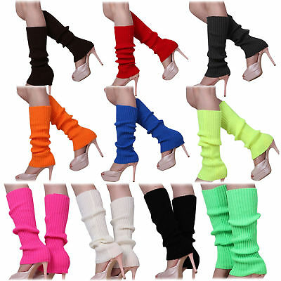 1X(Women's Solid Color Knitted Foot less Leg Warmers D4M3)