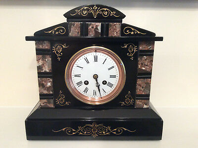 EXCEPTIONAL FRENCH SLATE & MARBLE MANTEL CLOCK c1870