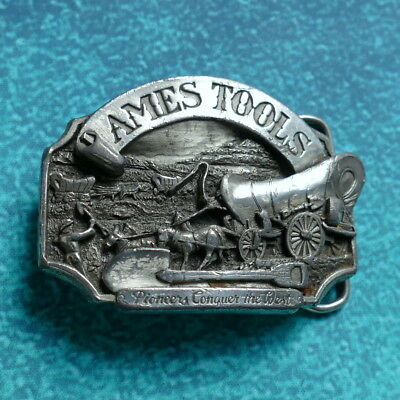 AMES TOOLS Belt Buckle - USA Made 1986 Limited Edition Pioneers Conquer the West