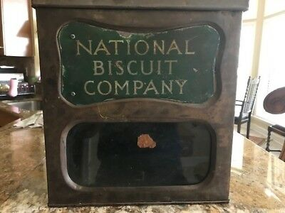 Vintage Antique National Biscuit Company Store Display Tin Box Container W/Glass
