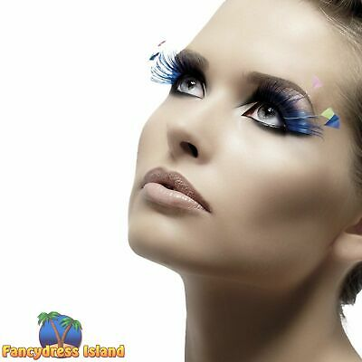 0a4d89c3fa8 Blue Eyelashes with Feather Plumes Glamour Adult Womens Fancy Dress  Accessory