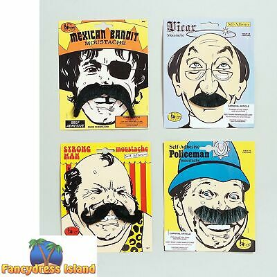 COWBOYS MEXICAN BANDIT FAKE BLACK TASH MOUSTACHE Mens Fancy Dress Accessory