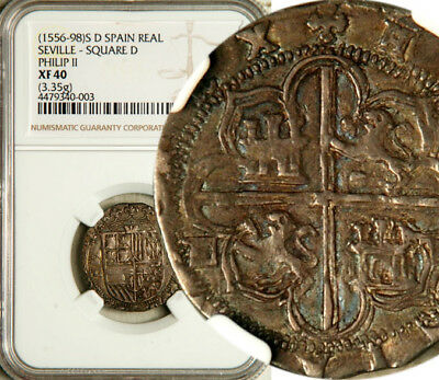 Ngc Xf-40 Spain Seville Silver Cob 1 Real 1556-98 (Rare: Square D On Both Sides)