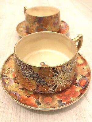 Japanese Kinkozan Meiji Period Plate Highest Quality Gilt Colorful Cups & Saucer