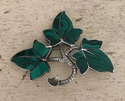 Antique Victorian Sterling Silver & Malachite Scottish 3 Leaf Ivy Brooch Pin 11g