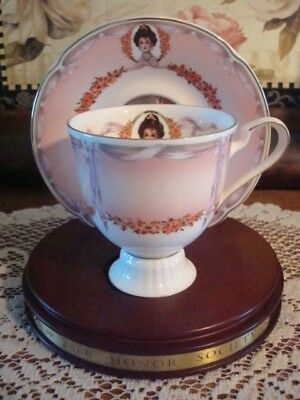 Avon 2000 Honor Society Award Mrs. Albee Tea Cup Saucer with Wood Display Stand
