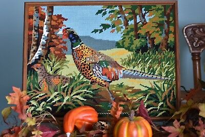 Framed Needlepoint Fall Foliage & Pheasant Bird Picture Royal Paris Canvas