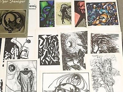 Portfolio of 12 Ofer Feniger Drawings and Watercolors Israeli Artist