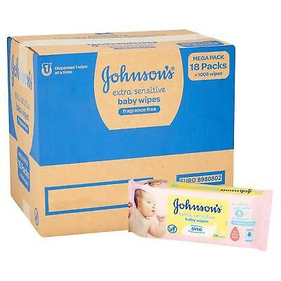 Johnson's Baby Care Extra Sensitive Gentle Unscented Wipes - Multipack Of 18 NEW