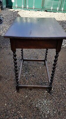 Small oblong antique Oak barley twist side table shabby chic upcycle project