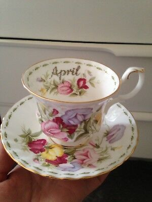 Royal Albert Bone China  Flower Of The Month Tea Cup Saucer April New