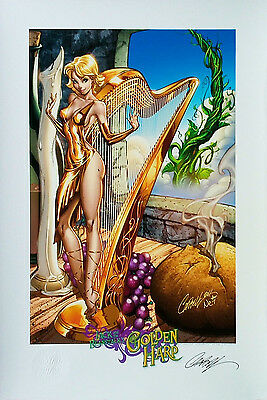 """Jack and the Beanstalk The Golden Harp SIGNED  J SCOTT CAMPBELL Print 13""""x19"""""""