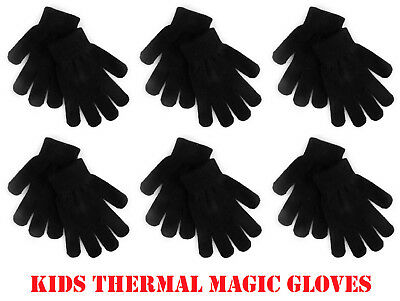 Kids Thermal Magic Winter Gloves Stretch Soft Boys Girls Unisex Black Childrens