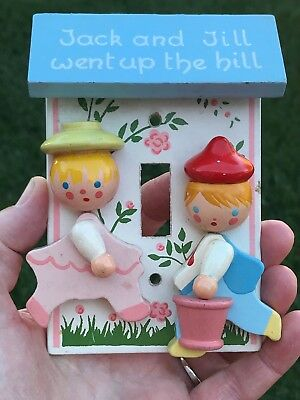 Vintage Irmi Nursery Jack and Jill Light Switch Plate Cover, Hand painted