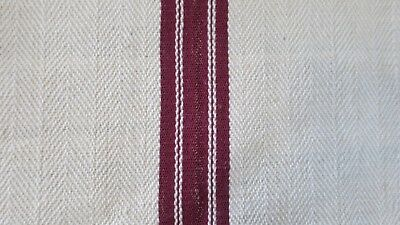 Antique European Hemp Grain Sack Gorgeous Maroon Dark Red Stripes