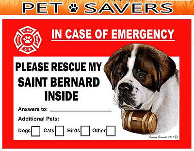 Saint Bernard Pet Savers Emergency Rescue Window Cling Sticker