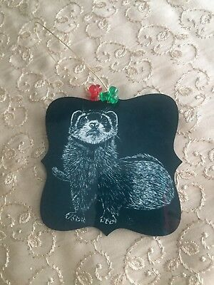 Ferret Christmas Ornament Scratch Board Art Hang Tag Red Green Xmas