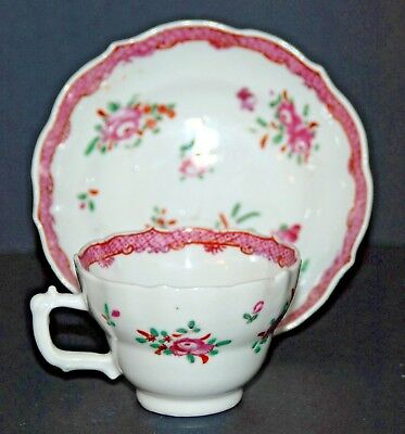 CHINESE EXPORT PORCELAIN CUP N' SAUCER 18th CHINE XVIII TASSE LOBÉE FLEURS ROSE