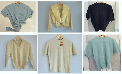 VINTAGE Lot of 6 100% Cashmere Virgin 1950s Pin Up Cardigan Sweaters 36/38 Bust