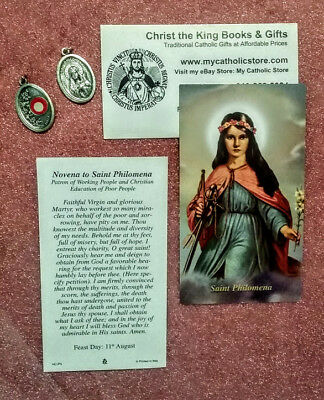 St Philomena Powerful With God Relic Medal And Prayer Folder Combination