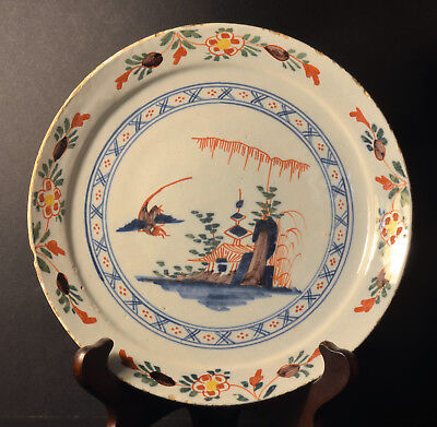 DUTCH POLYCHROME PANNEKOEK DELFT XVIII 18th CHINOISERIES  PAYSAGE PAGODE BIRDS