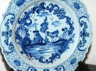 DELFT DUTCH XVIII 18th CHINOISERIE PORCELEYNE BIJL ? SIGNED GOAT BUCOLIC LAND