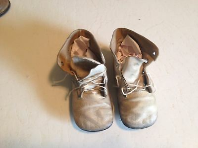 Antique First Step Tie Leather Baby Shoes