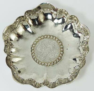 AESTHETIC MOVEMENT FLOWER & BEE SILVER PLATED DISH c1890