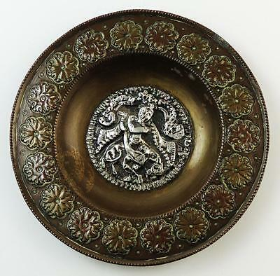 SOUTH INDIAN / TANJORE DEITIES Antique BRASS & SILVER DISH c1920
