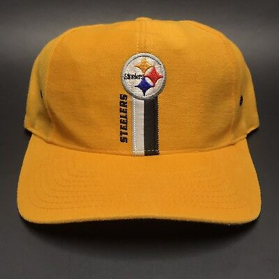 VTG 1990s Pittsburgh Steelers Yellow NFL Football Logo 7 Snapback Hat Cap 0d2f170f2