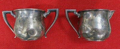 "Vintage Sterling Silver Sugar and Creamer Set Engraved ""R""  149.3g Weight"