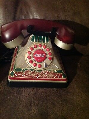 Coca-Cola Tiffany Stained Glass Telephone Desk Phone