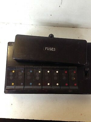 a vintage bakelite 8 fuse wylex fuse box with fuses