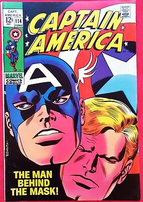 "CAPTAIN AMERICA 114 Marvel Silver Age 1969 ""The Man Behind the Mask!"""