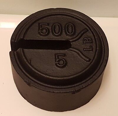 VINTAGE 5/500 lb. WEIGHT For A PLATFORM BALANCE SCALE - Fairbanks? Pre-Owned