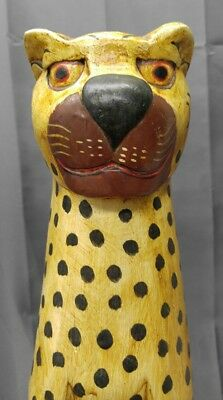 hand painted carved wooden cheetah figure statue wood carving
