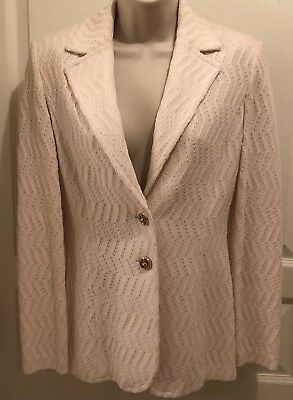 ST JOHN Collection By MARIE GRAY Blazer Jacket W/ Bow Detail  NWOT Sz 2 Ivory