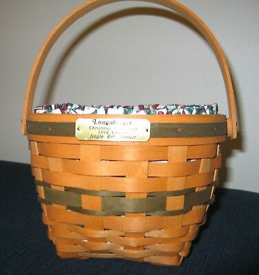 Longaberger 1994 Christmas Collection Jingle Bell Basket with liner & protector