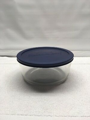Vintage Pyrex 7203 Glass Mixing Nesting Round Bowl Clear 1.75 Qt With Blue Lid