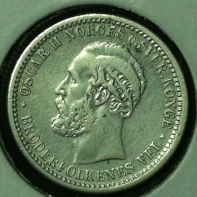 Norway 50 Ore  KM 356  XF  Heavy Cleaning  1896