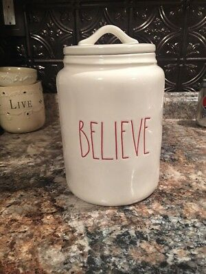 Rae Dunn 2018 BELIEVE Canister White Red LL Christmas by Magenta Holiday NEW