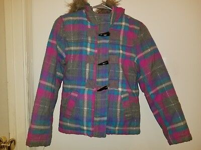 Girls Plaid Justice Winter Jacket (Size 12)