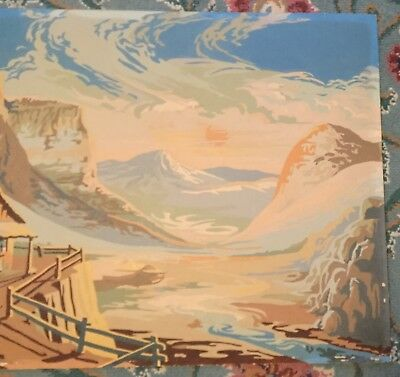 """Finished Vintage Cabin in the Mountains Paint By Number*20"""" by 16"""""""