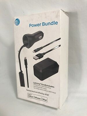 AT&T Charge & Sync Cable Wall & Car Charger Lightning Bundle iPhone
