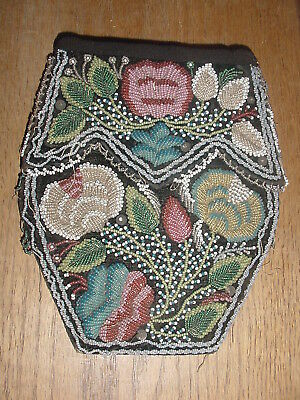 Old Ca 1860 Penobscot Indian Beaded Bag Ultra Tiny Beads