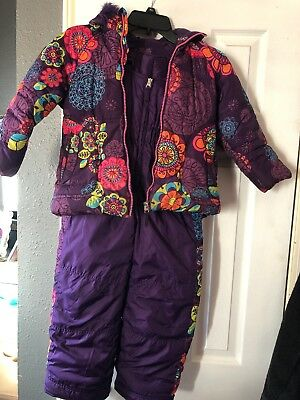 Hawke & Co Girls Snow Suit 6 Purple Bibs Coat Euc