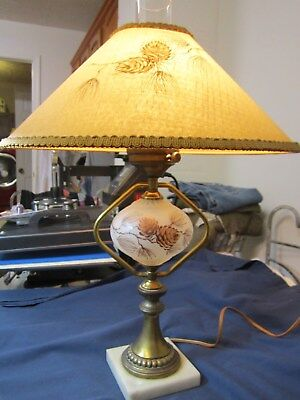 Antique Vintage Pair of Table Lamp Lamps Pinecone & Shade