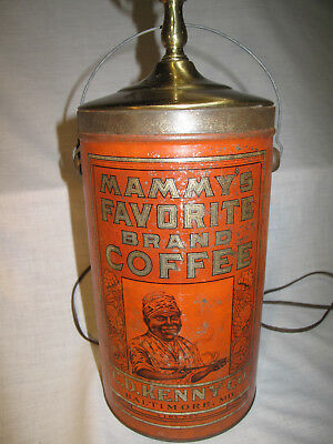 "Antique ""mammy's Favorite"" Advertising Coffee Tin Pail Lamp C.d. Kenny Co 4 Lb"