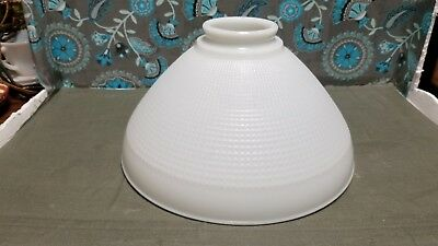 """Vintage CORNING WHITE MILK GLASS TORCHIERE LAMP SHADE Waffle 10"""""""