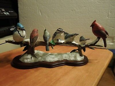 "Danbury Mint "" Winter Gathering "" 7 Songbirds on a branch by Bob Guge"